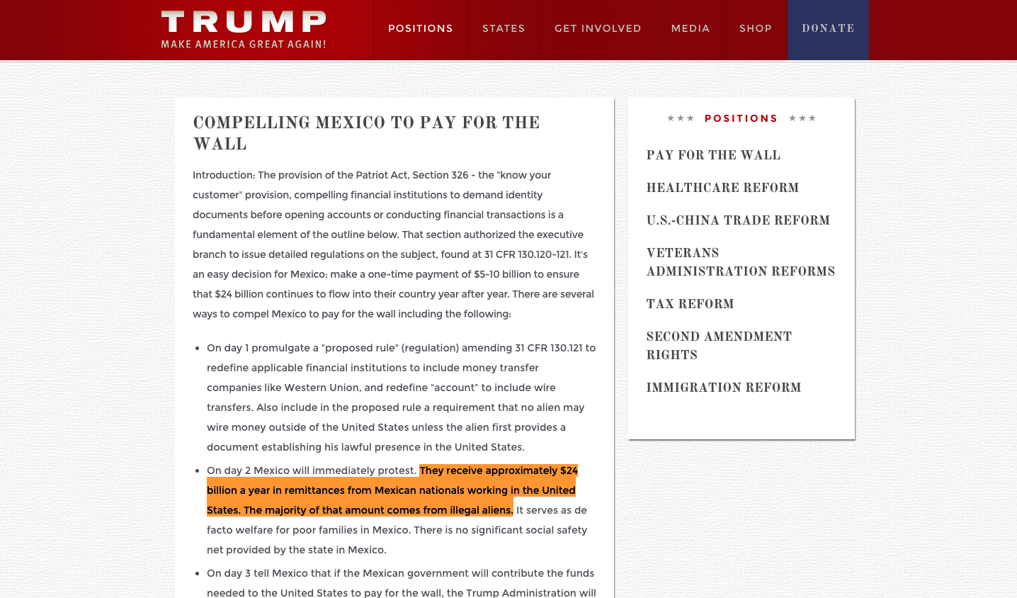 In Turn Trump Argues That He Would Not Let The Wire Transfer Ban Go Into Effect If Mexico Contributes Funds Needed To United States Pay For