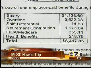 New information on MCSO's trip to Hawaii