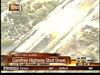 Carefree Highway shut down due to flooding