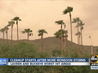 Cleanup begins in Laveen, Buckeye after storms