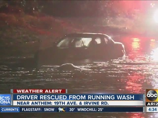 VIDEO: Driver rescued from wash near Anthem