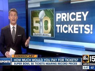 Super Bowl tickets reach near-record prices