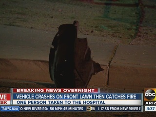 Vehicle in PHX crash ends up on fire at home