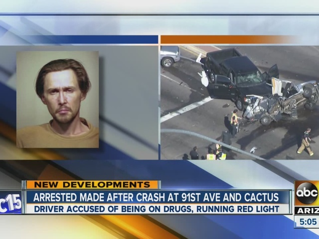 Arrest made after crash at 91st Avenue and Cactus