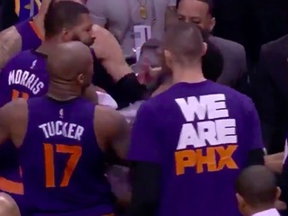 VIDEO: Suns players get into shoving match