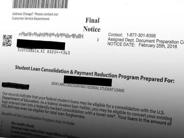 Final Notice' Letter Offers Student Loan Help; Dept Of Education