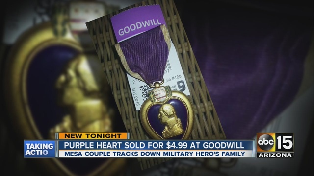 Mesa couple finds Purple Heart at Goodwill, finds owner's family