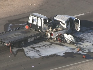 One hurt in crash with tow truck in Mesa