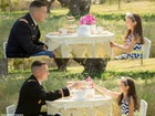 'Military tea time' photos show family bond