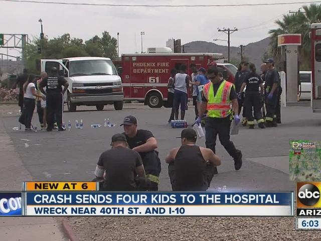Four kids hospitalized after Phoenix crash