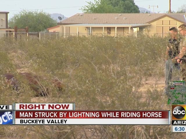 Horse killed, rider injured in Buckeye lightning strike