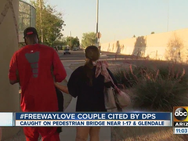 Couple on top of freeway bridge cited by DPS