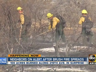 Official: Brush fire in Surprise 10% contained