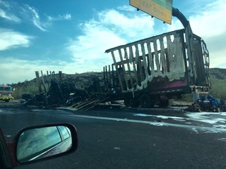 Vehicle fire on I-17 south slows traffic for hrs