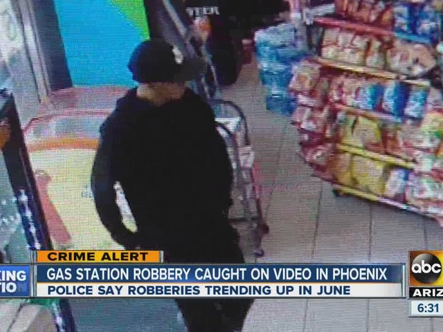 Gas station robbery caught on video in Phoenix