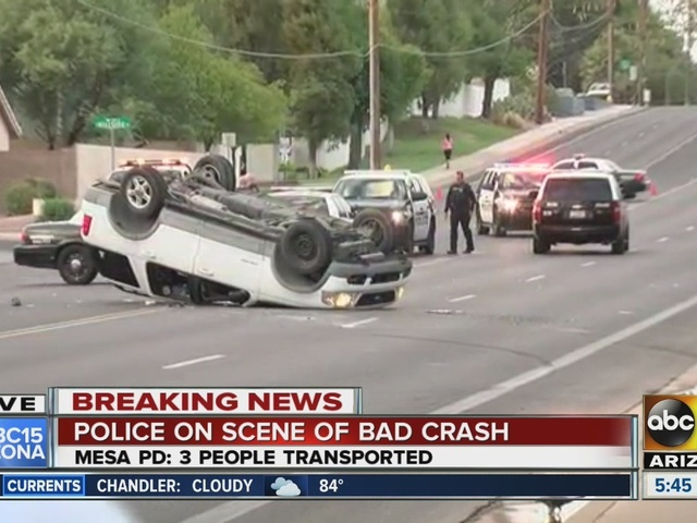 Three transported to hospital after rollover in Mesa