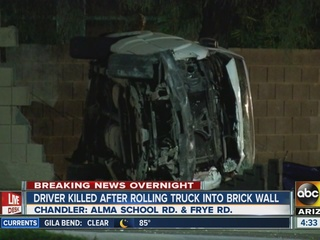 Truck slams into wall in Chandler, driver killed