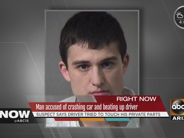 Man accused of crashing car and beating up driver