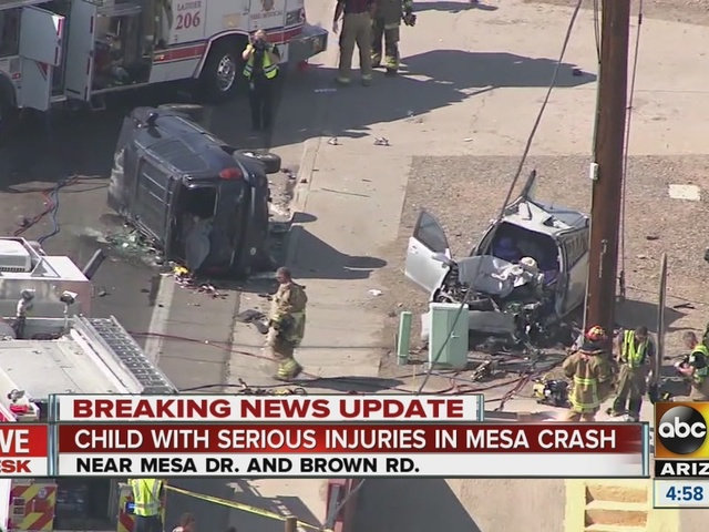 Child with serious injuries in Mesa crash