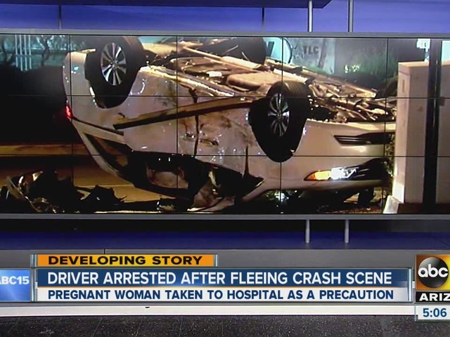 Driver arrested after fleeing scene of a crash that sent pregnant woman…