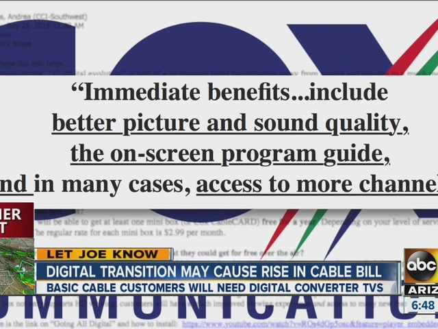 Digital transition may cause rise in cable bill