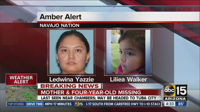 Navajo police issue Amber alert for 4-year-old girl