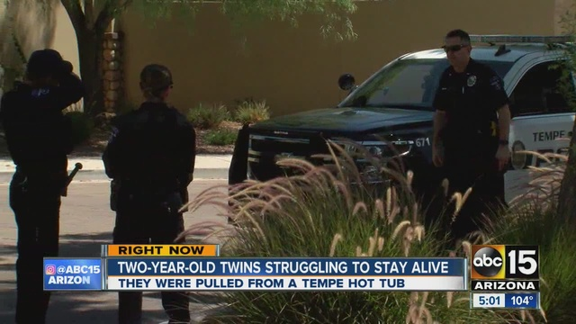 Tempe FD PD 2 Year Old Twins Found In Hot Tub Taken To Hospital ABC15 Ari
