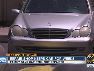 Family struggles to get car back from Mesa shop