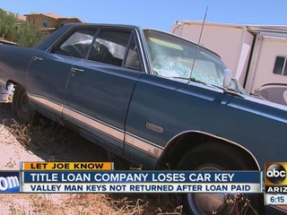 Title loan company loses Valley man's keys