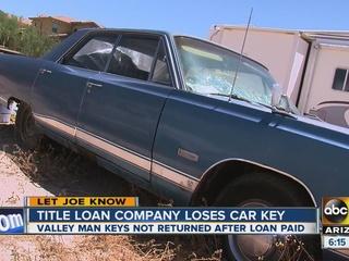 Title loan company loses Valley man's keys