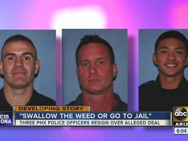 Three Phoenix Police Department officers off the job after making man eat pot