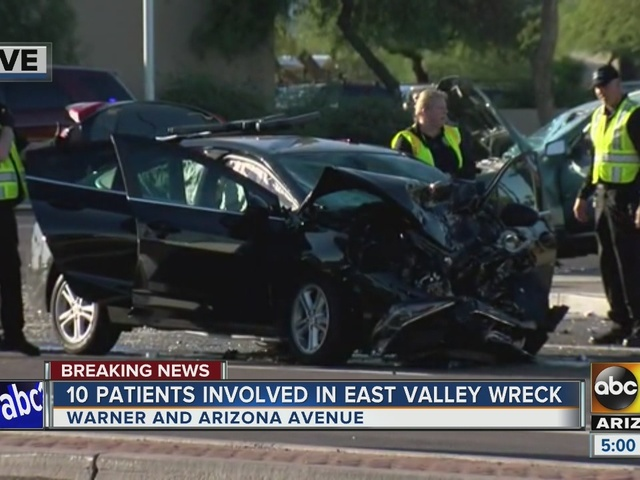 10 people hospitalized after Chandler car accident