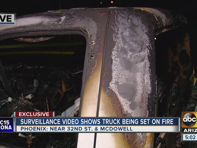 Police investigating truck set on fire in Phoenix, searching for two suspects