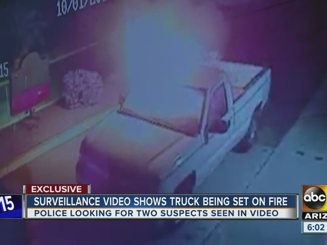 Surveillance video shows truck being set on fire
