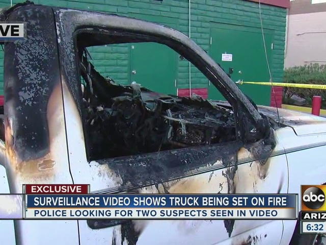 Video shows truck being set on fire
