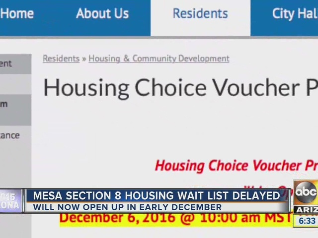 City of Mesa pushes back section 8 housing pre-application