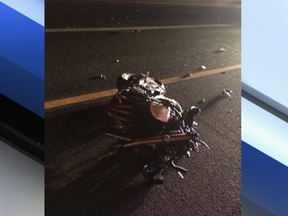 Two motorcycle riders crash during apparent race