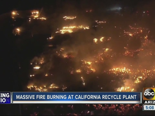 Massive fire burning at California recycling plant