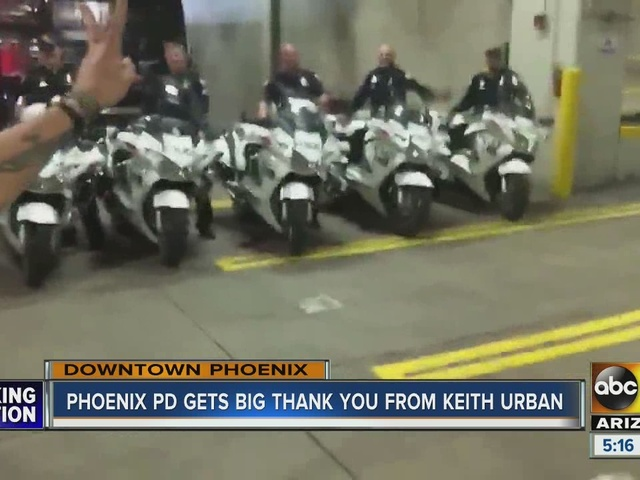 Keith Urban thanks Phoenix police after a concert in town