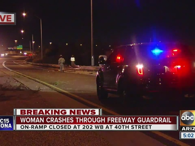 Loop Woman crashes through freeway guardrail on Loop 202 in Phoenix