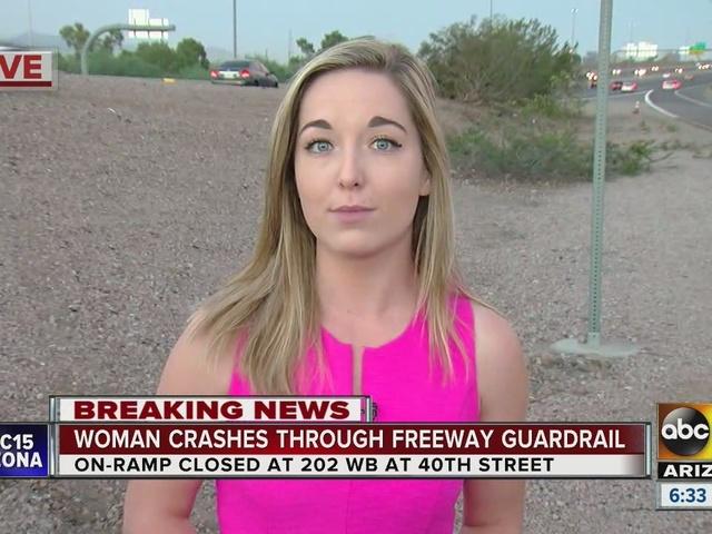 Woman crashes through guardrail on Loop 202 at 40th Street