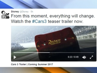 WATCH: Disney releases 'Cars 3' teaser trailer