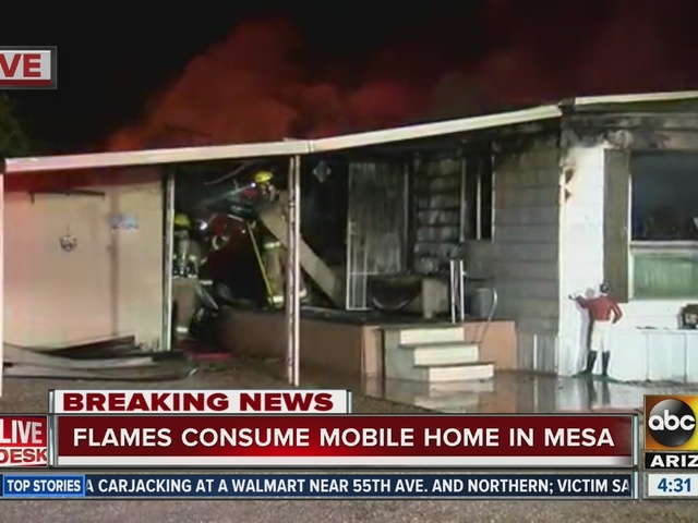 Crews fighting blaze at Mesa mobile home park