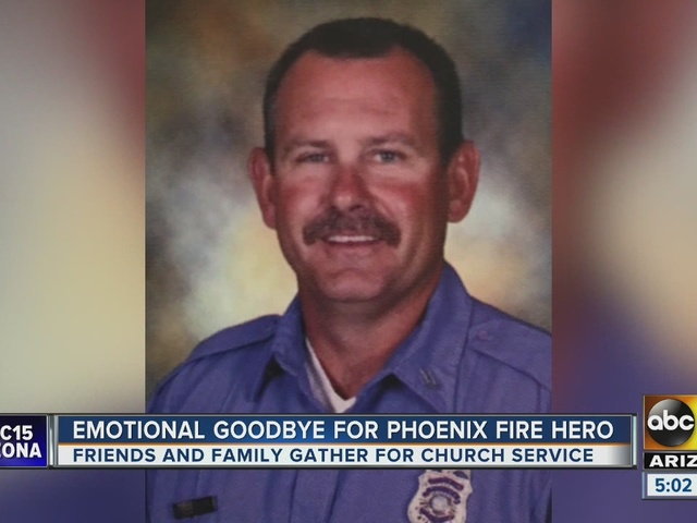 Firefighters give emotional goodbye for Phoenix Fire hero