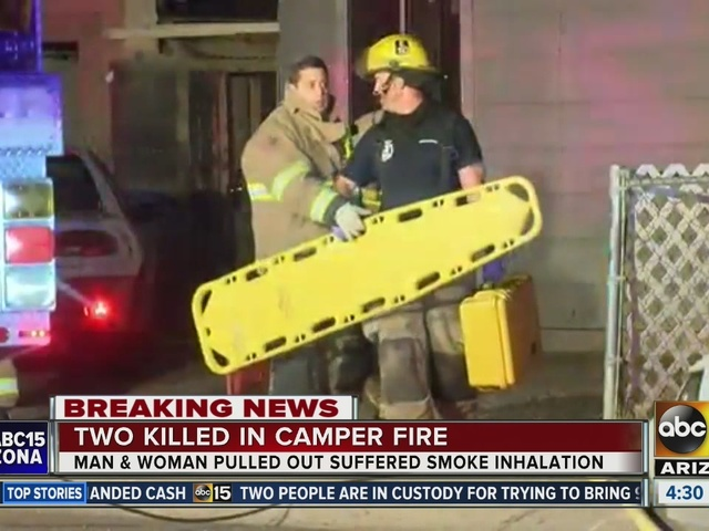 Firefighters pull two people from burning camper in Peoria; man and…