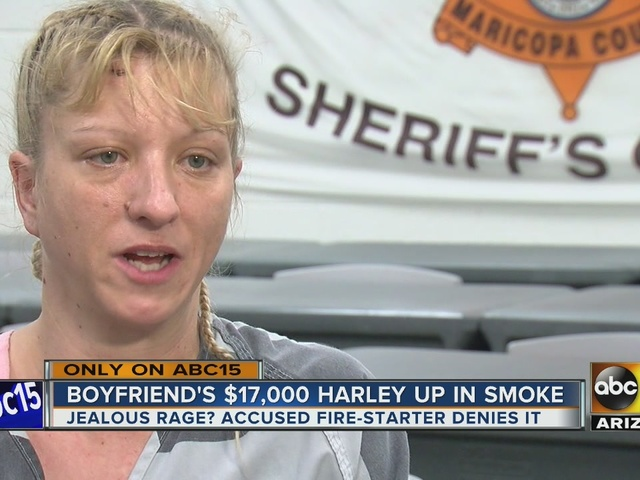 Mesa woman speaks out after allegedly burning boyfriend's Harley motorcycle