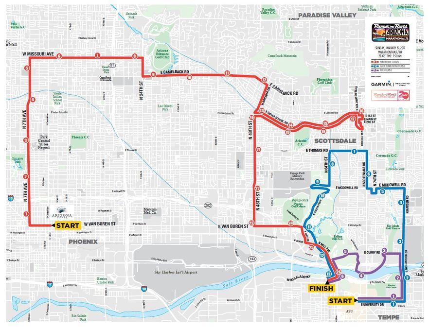 University Arizona Map.Map Road Closures For 2017 Phoenix Rock N Roll Marathon Half Marathon