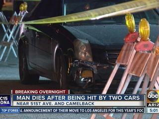 Man dies after being hit by two cars in Phoenix