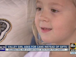 PHX girl hosts food drive for birthday