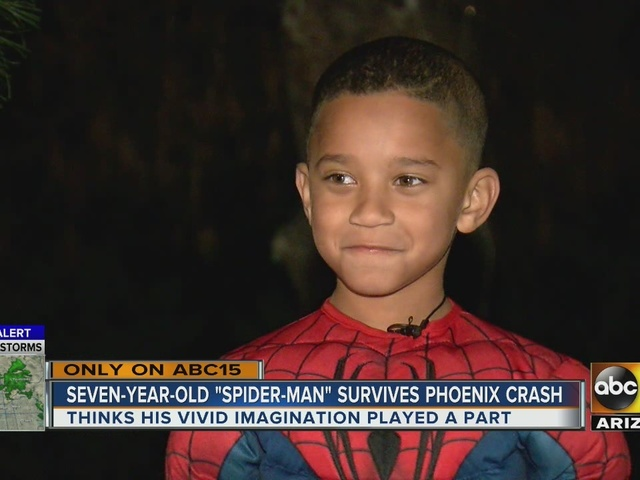 Young boy says being 'Spiderman' saved him after being struck by car